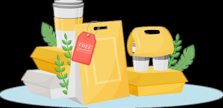 Food Delivery package Illustration