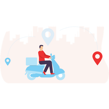 Food delivery scooter arriving at the delivery pin Illustration