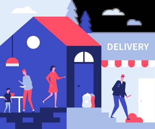 Food delivery service Illustration