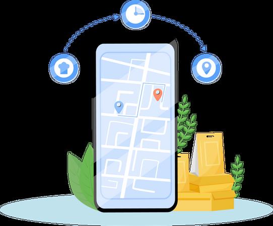 Food delivery tracking app Illustration