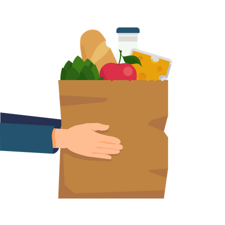 Food delivery with hands holding a paper shopping bag full of goods and product including bread, milk, vegetables and cheese Illustration