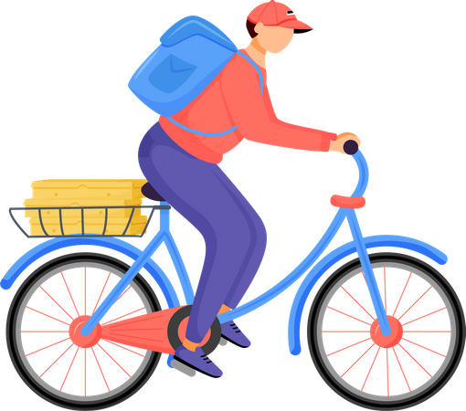 Food rider, pizza deliveryman Illustration