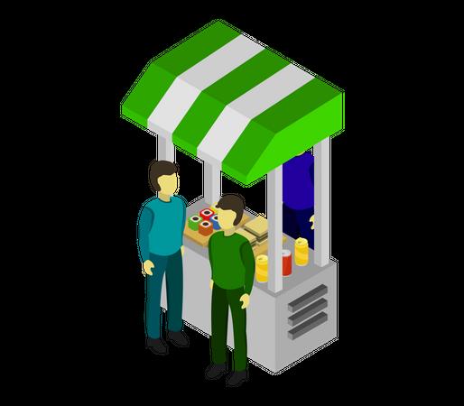 Food stall Illustration