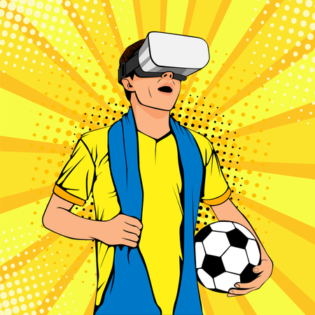 Football fan in virtual reality glasses with open mouth and ball Illustration
