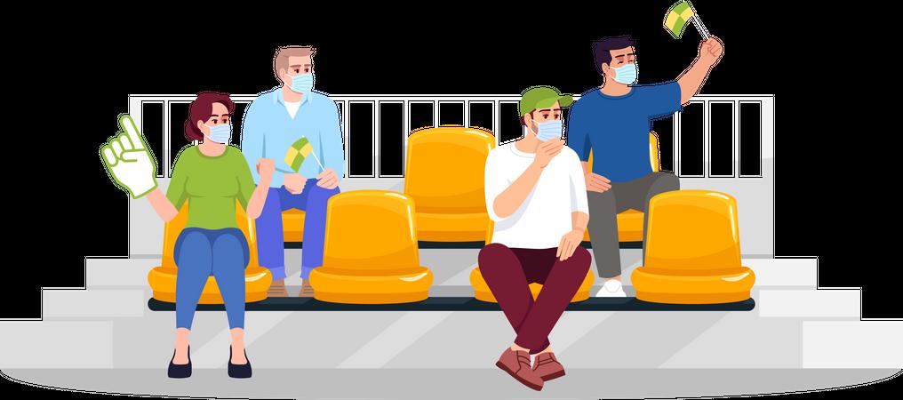 Football fans on seats Illustration