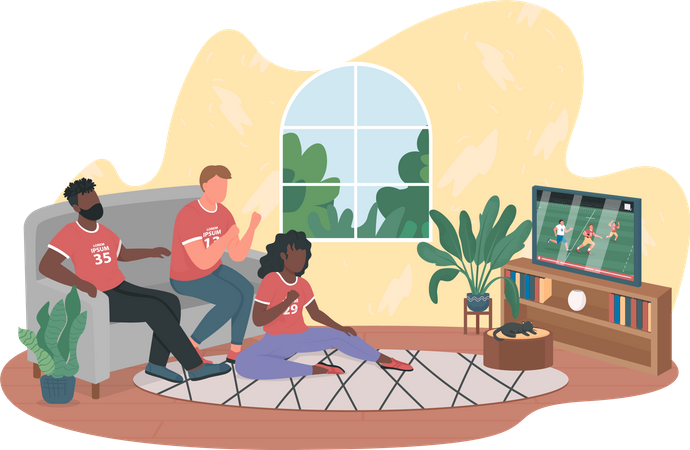 Football fans playing game on TV at home Illustration