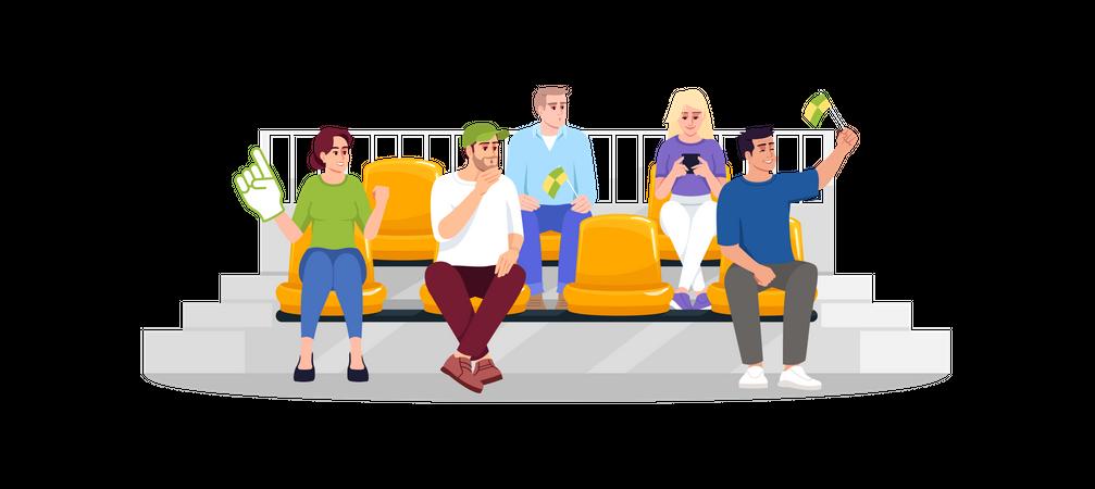 Football fans sitting on seats Illustration