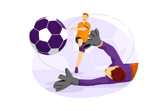Football player and goal keeper Illustration