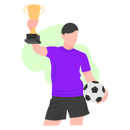 Football player got trophy Illustration