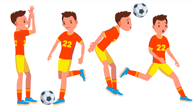 Football Player With Different Pose Illustration