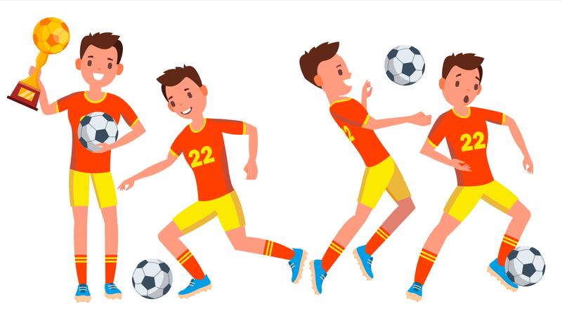 Football Player With Winning Gesture Illustration