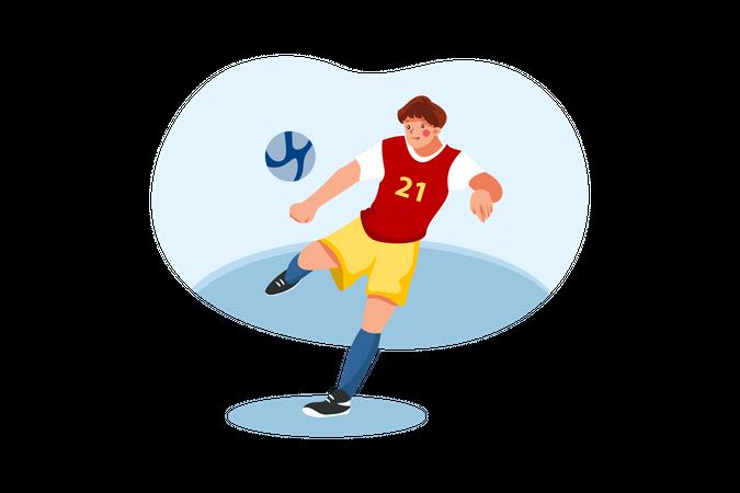 Footballer kicking football Illustration
