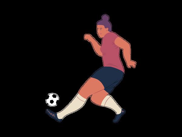 Footballer Player Dribbling ball Illustration