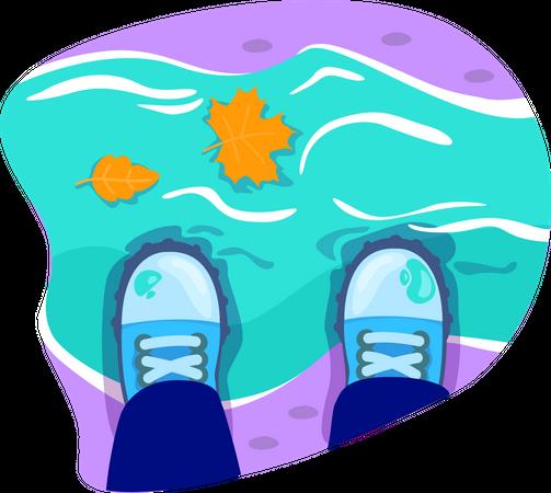 Footwear for walk in water stream Illustration
