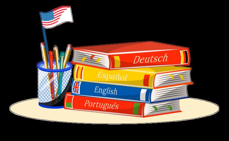 Foreign language learning books Illustration