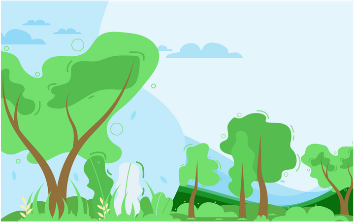 Forest or Park with Trees and Bushes Illustration