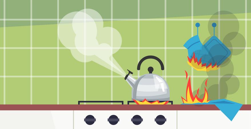 Forgotten kitchen duties Illustration