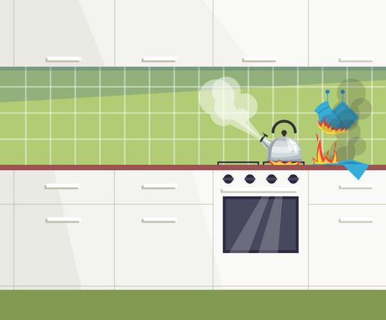 Forgotten teapot on turning on stove Illustration