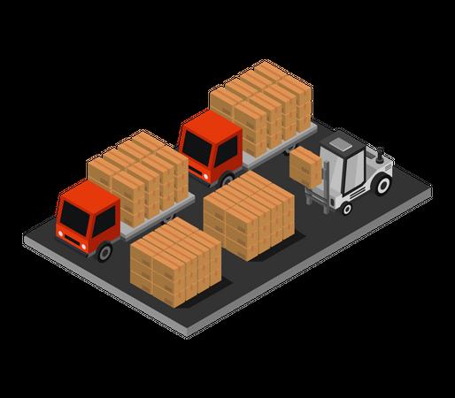 Fork lift loading goods in truck Illustration