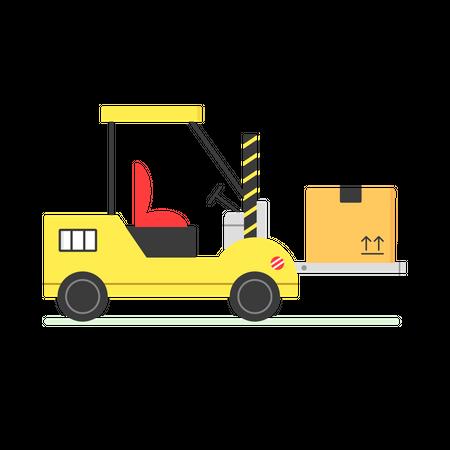 Forklift lifting goods Illustration