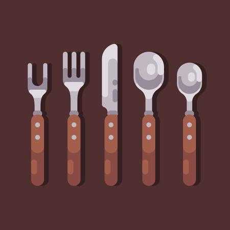 Forks, spoons, knife with wooden handles Illustration