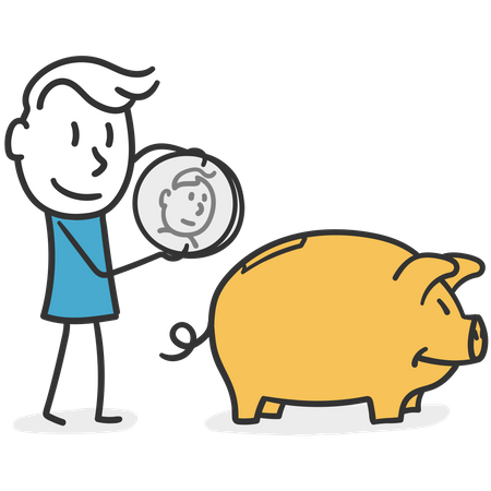 Forward thinking man who saves his earnings in a piggy bank Illustration