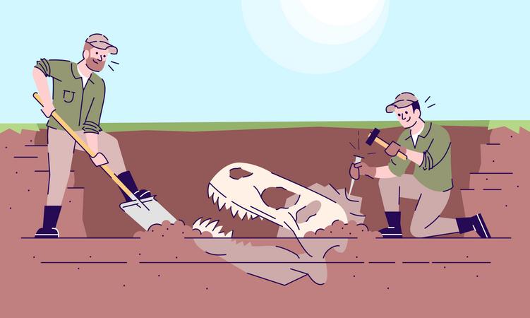 Fossil animal excavations Illustration