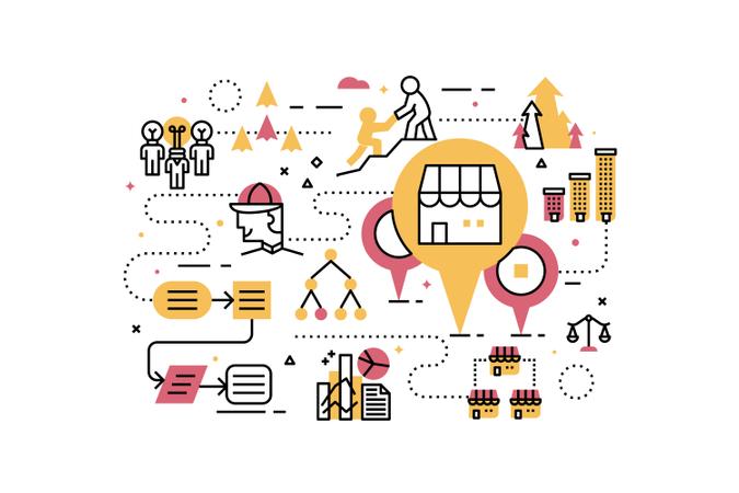 Franchise business line icons illustration Illustration