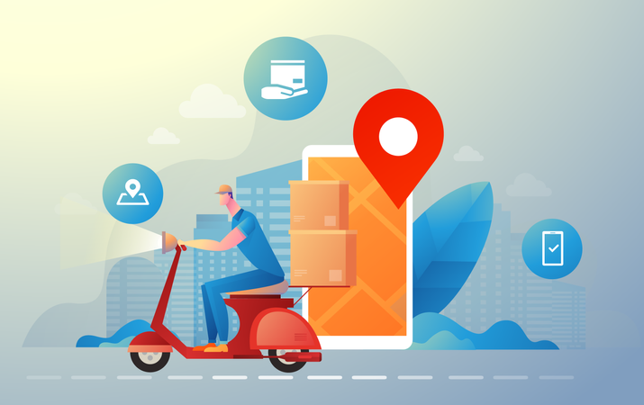 Free Fast home delivery Illustration