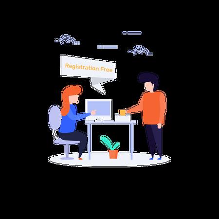 Free Registration desk Illustration