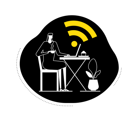 Free wifi - female freelancer sitting in the cafeteria and working on a laptop using wifi connection of cafeteria Illustration
