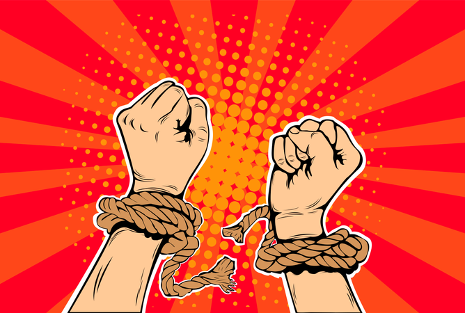 Freedom arms breaking the chains of slavery pop art retro style Illustration