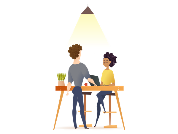 Freelance Couple Work by Table in Co-working Space Illustration