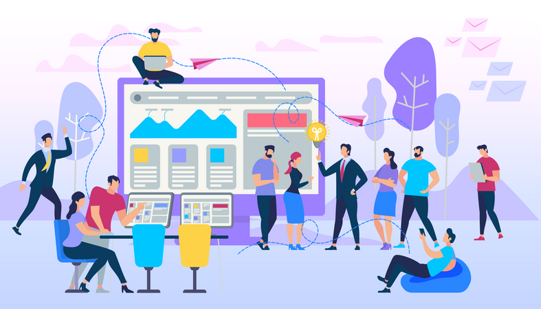 Freelance Group Working Together by social communication Illustration