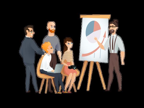 Freelance Team Meeting and Presentation at Modern Co-working Studio Illustration