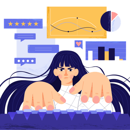 Freelance worker busy with analysis of marketing strategy Illustration