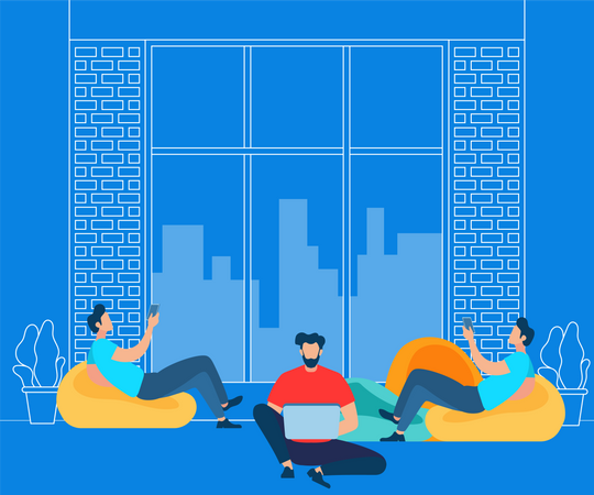 Freelancer Activity in Co working Modern Space Illustration