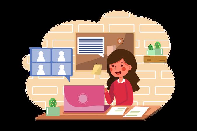 Freelancer attending online meeting at home Illustration