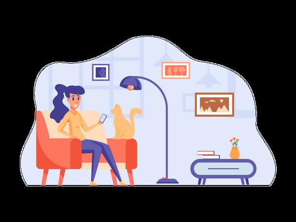 Freelancer chatting on mobile Illustration