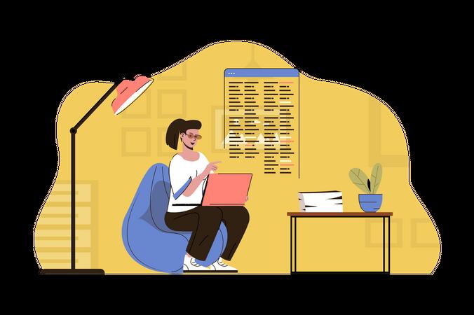 Freelancer doing web developing Illustration
