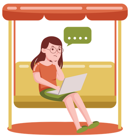 Freelancer girl thinking while working on laptop while sitting on swing Illustration