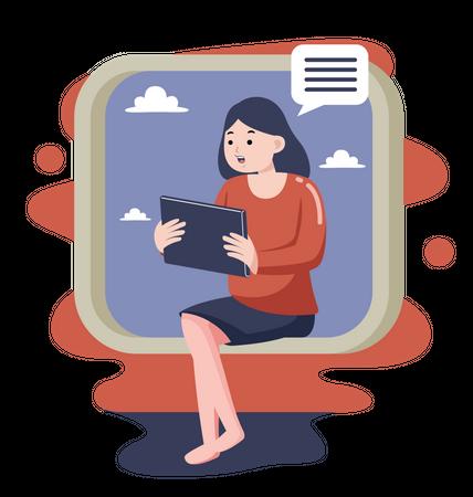 Freelancer lady talking on tablet white seating on window Illustration