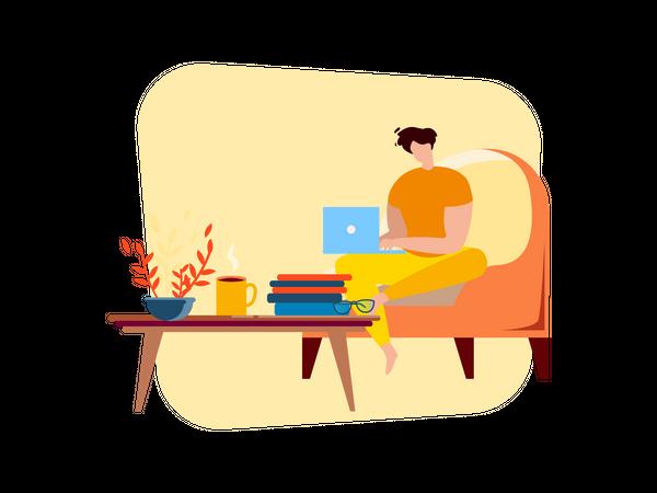 Freelancer Man working on laptop at Home Illustration