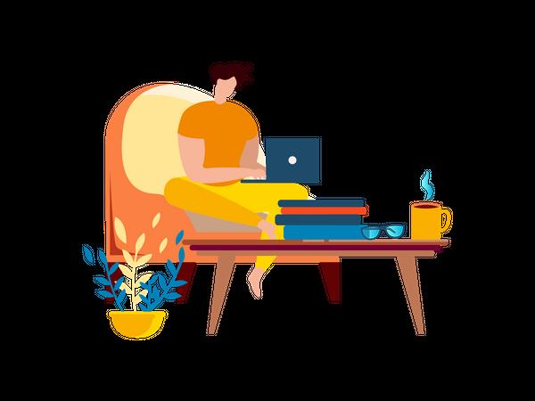 Freelancer man working on laptop while seating on armchair Illustration