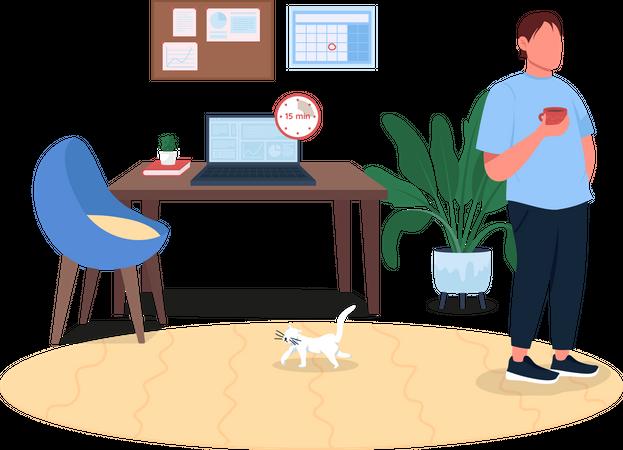 Freelancer on break Illustration