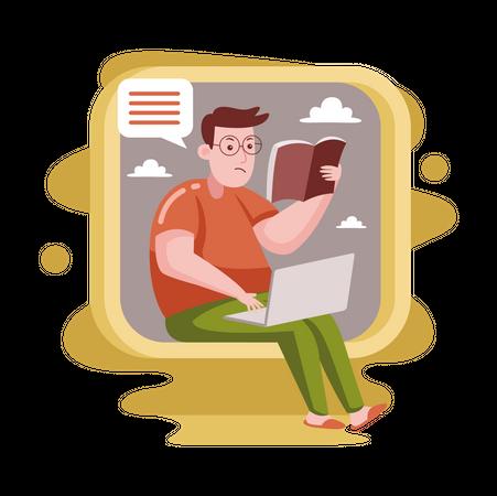 Freelancer reading book while working on laptop Illustration