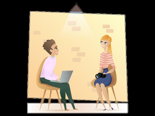Freelancer Sitting in Modern Coworking Open Space Illustration