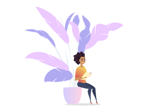 Freelancer Woman Chilling in Lounge Space Illustration