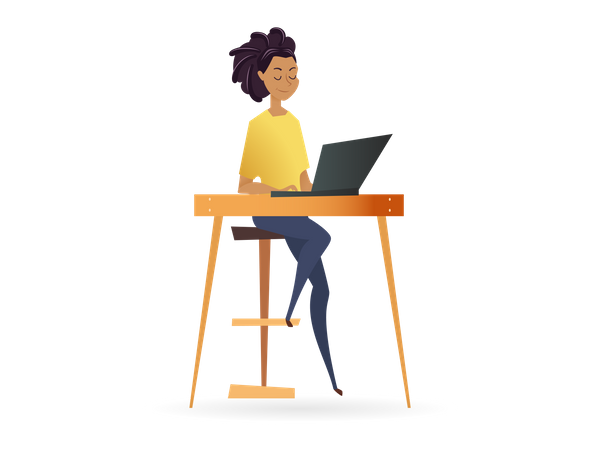 Freelancer Woman Working by Computer on Table Illustration