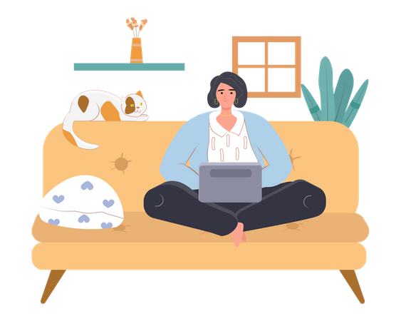 Freelancer worker sitting on the couch and working on laptop Illustration